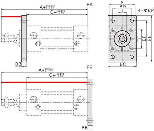 气缸型号和规格尺寸选型参数